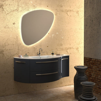 Ambra 52 in. Wall Vanity Left Round Right Concave Cabinet Set Bath Furniture - AGM Home Store LLC