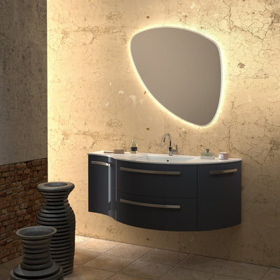 Ambra 52 in. Wall Vanity Left Concave Right Round Cabinet Set Bath Furniture - AGM Home Store LLC