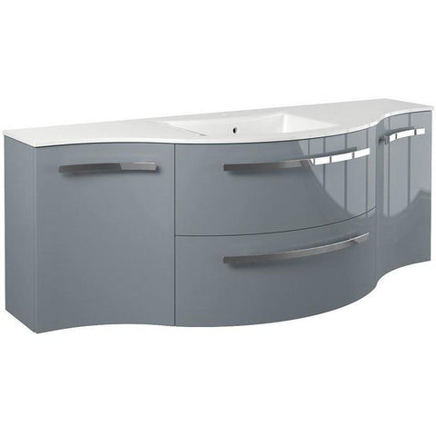LaToscana Ambra 57 in. Wall Bathroom Vanity Left and Right Concave Cabinet Set Bath Furniture - AGM Home Store LLC