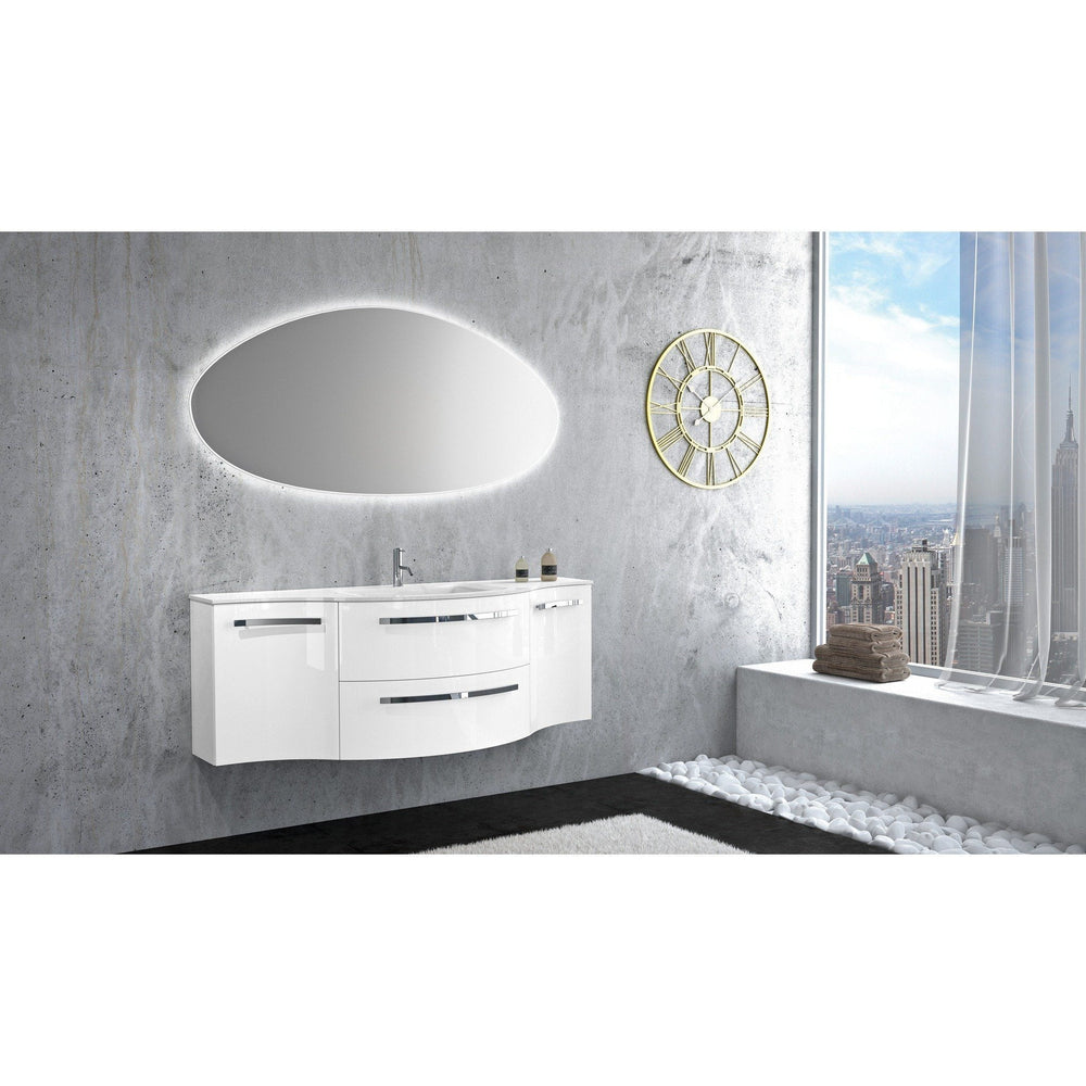 Ambra 57 in. Wall Bathroom Vanity Left and Right Concave Cabinet Set Bath Furniture - AGM Home Store LLC