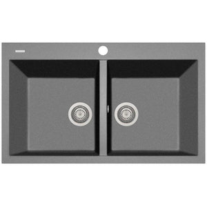 "Drop in sink Pogno Plados 34"" x 20"" Double Basin Granite Kitchen - AGM Home Store LLC"