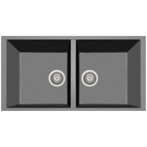 "Double Basin Sink Pogno Plados 34"" x 18""Granite Kitchen Undermount - AGM Home Store LLC"