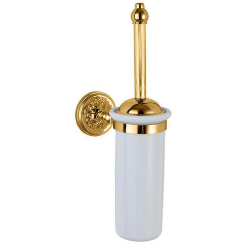 GM Luxury Lexington Round Wall Brass Toilet Brush Bowl Holder Cleaner Set W/ Lid - AGM Home Store LLC