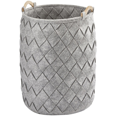 AMY Polyester Round Hamper Laundry Organizer Basket With Wood Carry Handles - AGM Home Store LLC