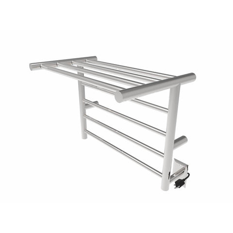 Amba Wall-Mounted Towel Warmer with Shelf, Polished Stainless Steel - AGM Home Store LLC