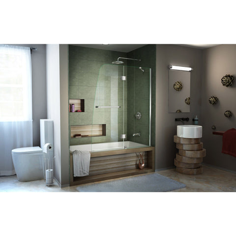 Aqua 48 in. W x 58 in. H Frameless Hinged Tub Door - AGM Home Store LLC