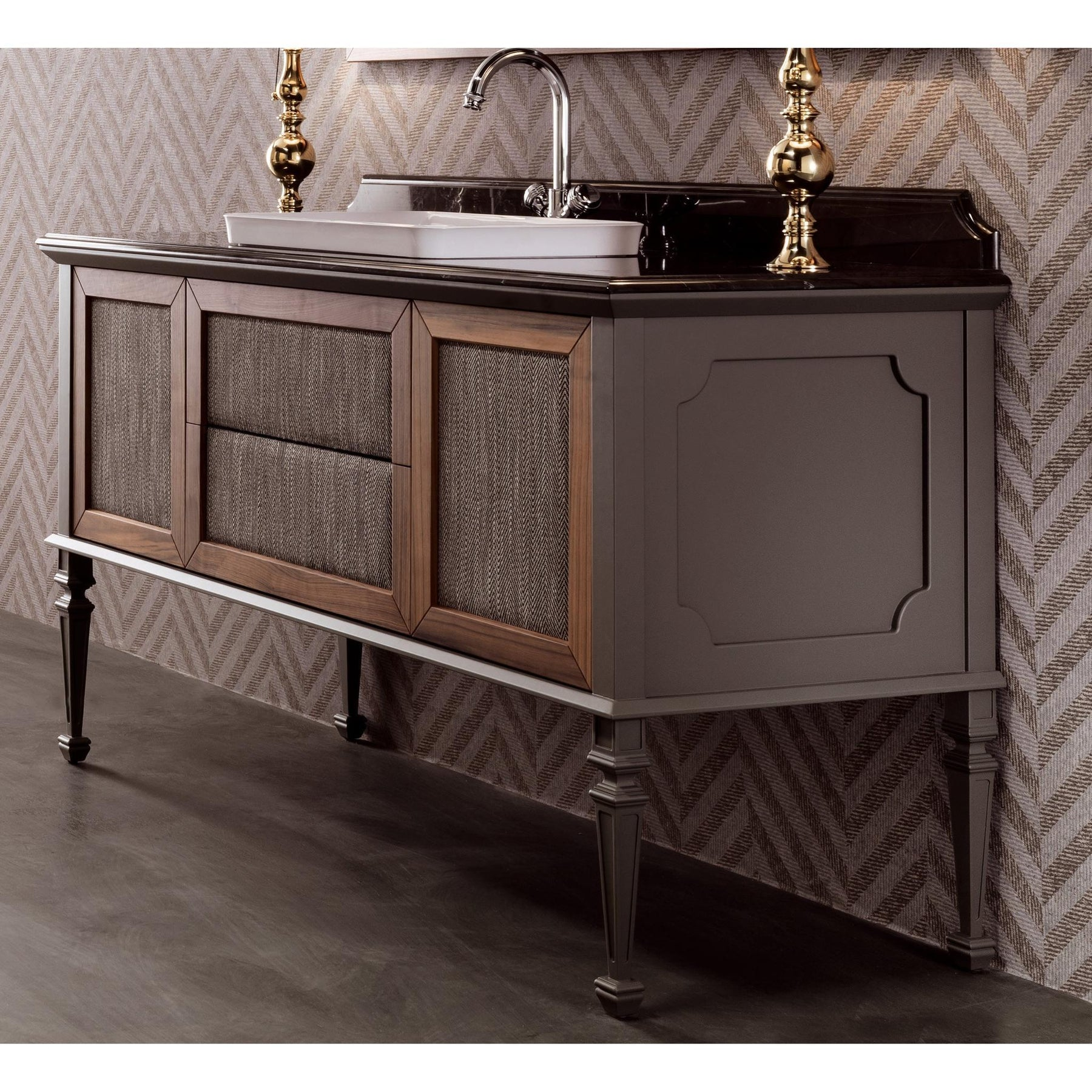 Gm Luxury Atelier 49 6 Bath Vanity Cabinet Single Sink Toulipier Wood Walnut Gray Finish Gm Luxury Bath Collection Bathroom Vanities And Sink Consoles 4 Drawers 44 To 50 Inches Above 15000 00