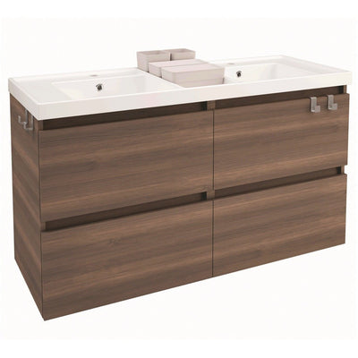 Box 48 in. Wall Mounted Bathroom Vanity 4 Drawers Cabinet with Resin Washbasin - AGM Home Store LLC