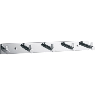 DWBA Hook Rail/Coat Rack with 5 Hooks, 12-Inch, Stainless Steel Chrome Plated - AGM Home Store LLC