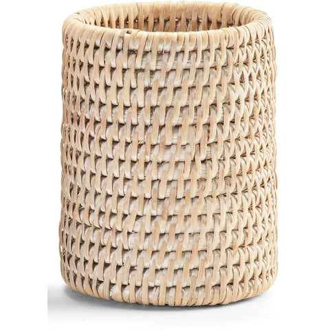 BASKET BER Malacca Toothbrush Toothpaste Holder Bathroom Brushes Tumbler - Rattan - AGM Home Store LLC