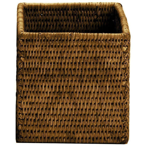 BASKET BOD Rattan Square Cosmetic Storage Makeup Jewelry Organizer Beauty Box Canister - AGM Home Store LLC