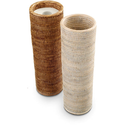 DWBA Malacca Round Free Standing Toilet Paper Holder Bathroom Storage - Rattan - AGM Home Store LLC