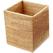 BASKET QK Malacca Square Wastebasket Trash Can for Bathroom, Kitchen, Office - Rattan - AGM Home Store LLC