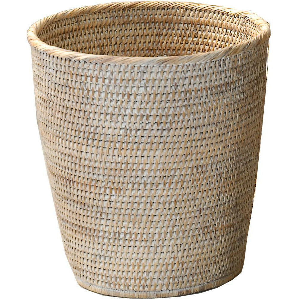 DWBA Malacca Round Wastebasket Trash Can for Bathroom, Kitchen, Office - Rattan - AGM Home Store LLC