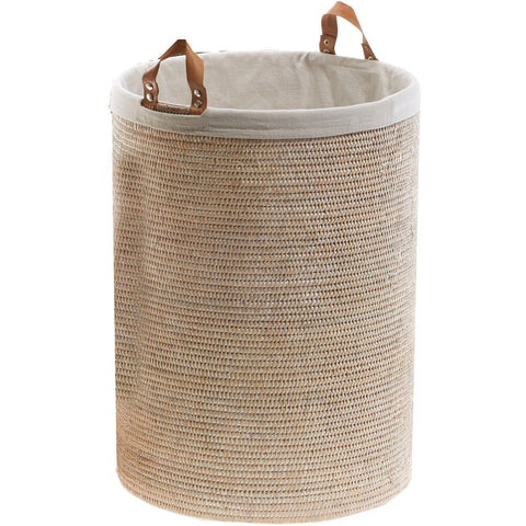 BASKET SPA Malacca Single Round Spa Hamper Laundry Basket with Handles - Light Rattan - AGM Home Store LLC