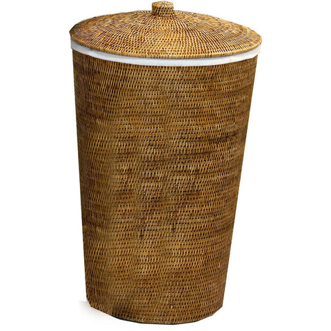 DWBA Malacca Single Hamper Laundry Basket with Lid 15 X 25 inch  - Rattan