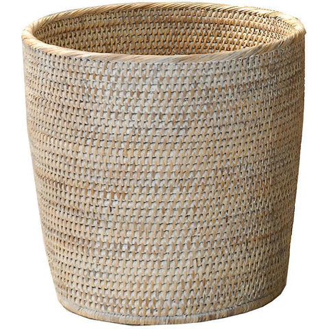 BASKET ZK Malacca Round Small Countertop Vanity Wastebasket Trash Can - Light Rattan - AGM Home Store LLC