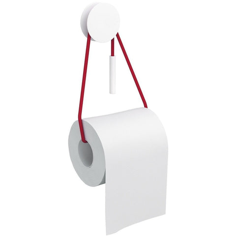 Bolo Self-Adhesive Toilet Paper Holder Tissue Roll Dispenser with Cord, White - AGM Home Store LLC