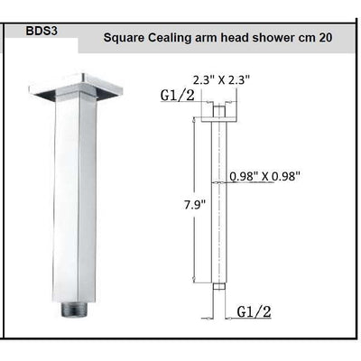 "ME Brass Cealing Mounted Shower Arm Square Rod  7.9"" Chrome Finished G1/2"" - AGM Home Store LLC"