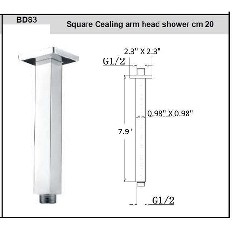 "Novara Brass Cealing Mounted Shower Arm Square Rod  7.9"" Chrome Finished G1/2"" - AGM Home Store LLC"