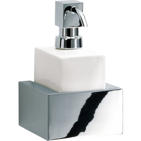 BK WSP Berlin Wall Bathroom 9 Ounce Soap Lotion Dispenser - Porcelain & Brass - AGM Home Store LLC