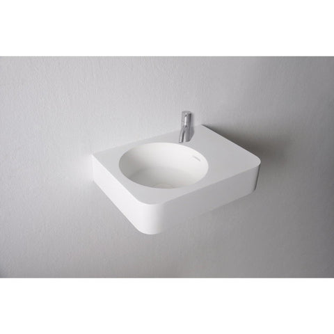 "Ideavit 18"" Small Wall Mounted Single Sink Bathroom Vanity, White Solid Surface"