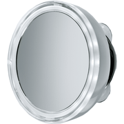 BS 10 5 in. Round Suction cup 5x Cosmetic Makeup Magnifying LED light Mirror, Chrome - AGM Home Store LLC