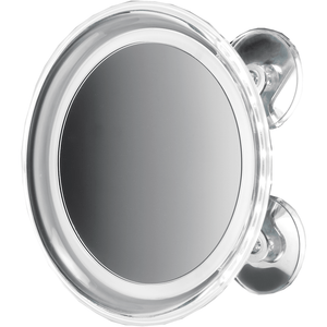 "DWBA 8"" Round Suction cup 5x Cosmetic Makeup Magnifying LED light Mirror, Chrome - AGM Home Store LLC"