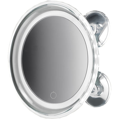DWBA One Sided Suction Cup LED Cosmetic Makeup 5X Magnifying Mirror, Chrome - AGM Home Store LLC