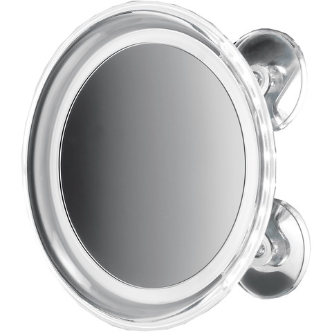 "DWBA 8"" Round Suction cup 5x Cosmetic Makeup Magnifying LED light Mirror, Chrome"