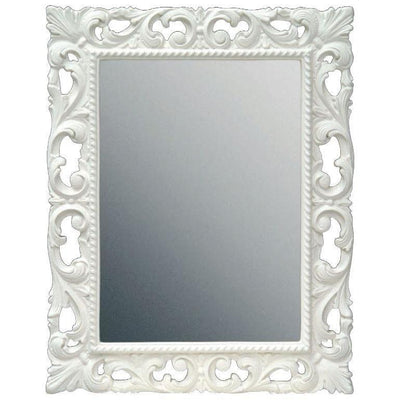 GM Luxury Bach Rectangular Decorative Wall Art Mirror for Elegant Design, White 29.5x37.4 - AGM Home Store LLC