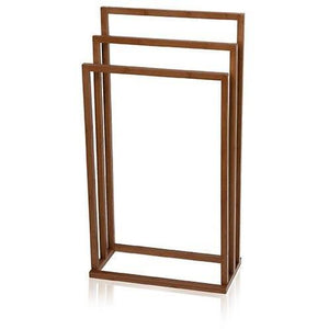 MV Bamboo Square Freestanding 3-Tier Towel Bathroom Rack Stand Bar Towel Holder - AGM Home Store LLC