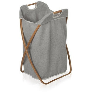 MV Bamboo With Canvas Foldable Hamper Laundry Basket With Carry Handles - AGM Home Store LLC