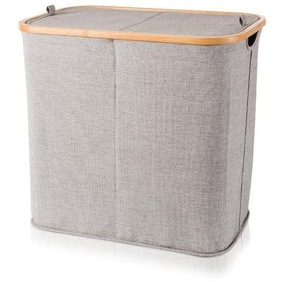 mv bamboo with canvas gray double hamper split laundry basket with lid agm home store