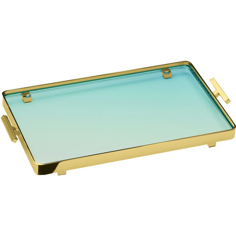 BoxMetal Bathroom Vanity Countertop Guest Towel and Organizer Tray, Solid Brass, Glass - AGM Home Store LLC