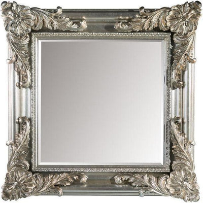 GM Luxury Baudelaire Square Decorative Wall Art Mirror for Elegant Design, Antique Silver Leaf 39.4x39.4 - AGM Home Store LLC