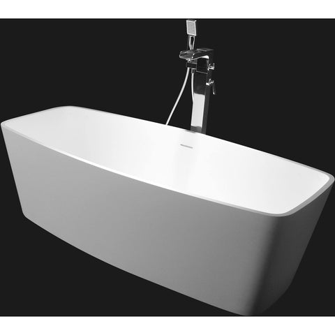 Ideavit Solidcare Rectangular Freestanding Bathtub in White Matte Solid Surface - AGM Home Store LLC