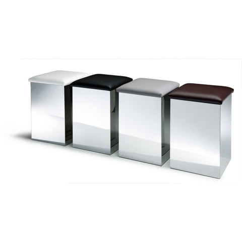 Case HK Hamper Stool Bench & Laundry Basket, Chrome Steel & Artificial Leather - AGM Home Store LLC