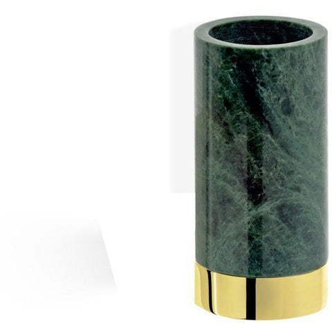 CENTURY SMG Round Bathroom Toothbrush Holder Standing Toothpaste Tumbler, Green Marble - AGM Home Store LLC