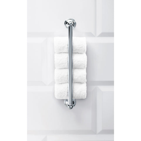 CL GTH Guest Towel Holder Vertical Towel Rack, Hanger for Bathroom - Brass Chrome - AGM Home Store LLC