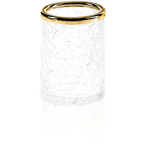 CR BER Crackled Glass Round Table Toothbrush Toothpaste Holder Bath Tumbler - AGM Home Store LLC