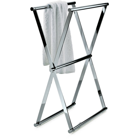 Cross 1 Standing Folding Chrome Towel Bath Rack Stand Double Bar Towel Holder 23.6 in. - AGM Home Store LLC