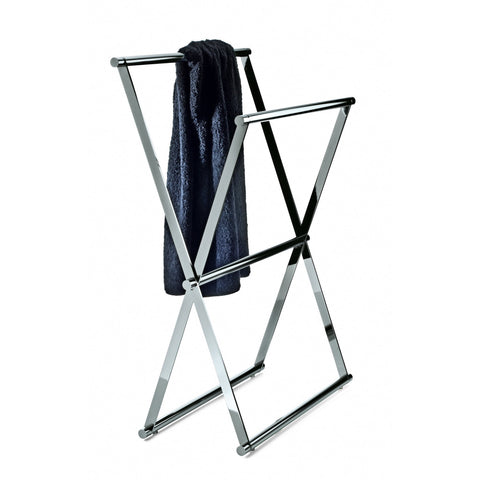 Cross 2 Standing Folding Chrome Towel Bath Rack Stand Double Bar Towel Holder 27.6 in. - AGM Home Store LLC