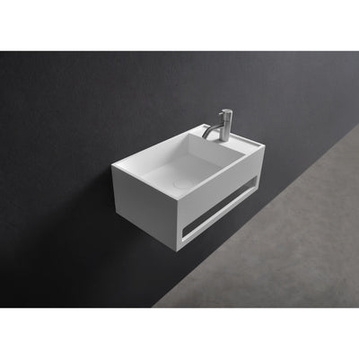 "Ideavit 12"" Wall Mounted Single Sink Bathroom Vanity with Towel Bar, White Solid Surface - AGM Home Store LLC"