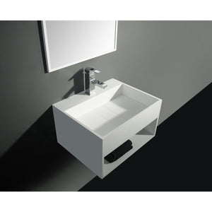 "Ideavit 24"" Wall Mounted Single Sink Bathroom Vanity with One Shelf, White Solid Surface - AGM Home Store LLC"
