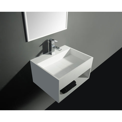 "Ideavit 24"" Wall Mounted Single Sink Bathroom Vanity with One Shelf, White Solid Surface"