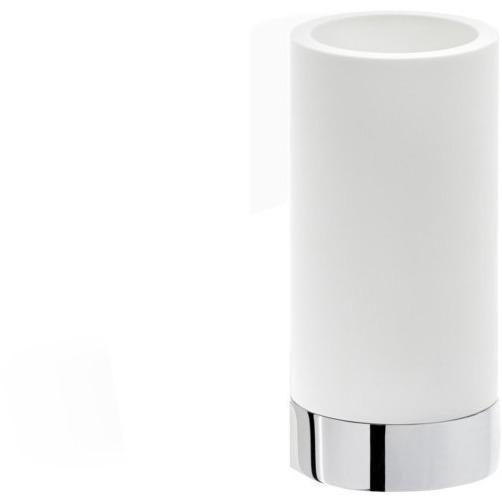 CENTURY SMG Round Bathroom Toothbrush Holder Standing Toothpaste Tumbler, Solid Surface - AGM Home Store LLC