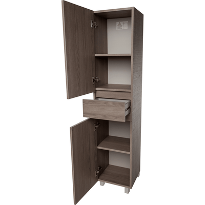 Standing/ Wall Mounted Storage Tall Bathroom Cabinet, 1 Drawer 2 Doors Estope/ White/ Wenge - AGM Home Store LLC
