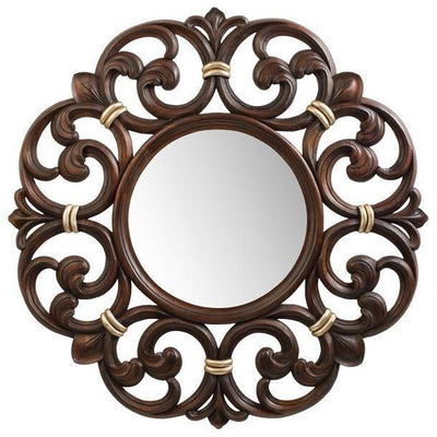 GM Luxury Constance Round Decorative Wall Art Hand Carved Mirror, Wood 38.6x38.6 - AGM Home Store LLC