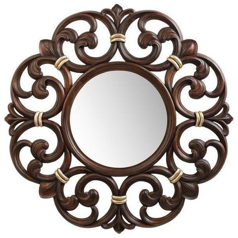 Carved Hand Nirror GM Luxury Constance Round Decorative Wall Art Mirror, Wood 38.6x38.6 - AGM Home Store LLC